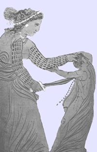 """Medea uccide uno dei suoi figli. Immagine tratta da un'anfora a figure nere decorata dal """"Pittore di Issione"""". Museo del Louvre."""