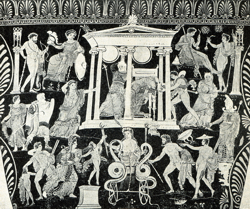 La vendetta di Medea. Cratere a volute di Canosa, IV sec a.C. Museo di Monaco
