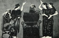 Medea fa ringiovanire un ariete servendosi delle sue arti magiche. Pittura vascolare a figure nere, VI sec.a.C. Londra, British Museum