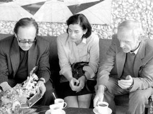 Christa Wolf con Heiner Müller e Günter de Bruyn – 1987. Foto Karin Gaa