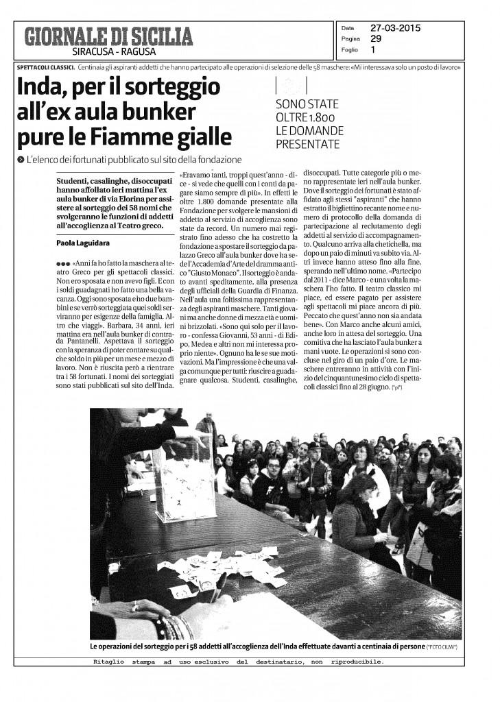 Giornale di Sicilia, 27 marzo 2015