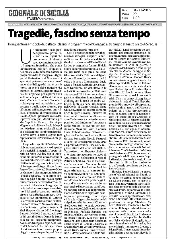 Giornale di Sicilia, 31 marzo 2015----