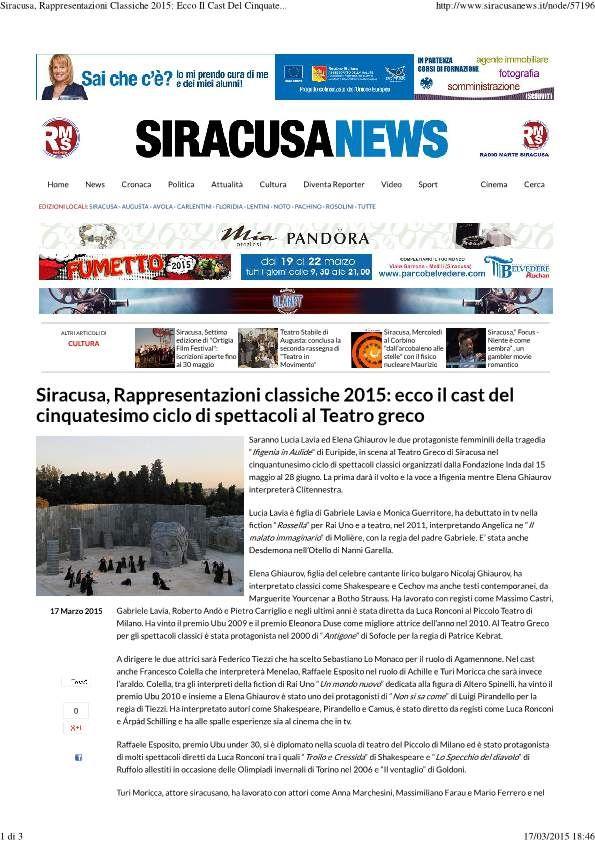 Siracusa News, 17 Marzo 2015
