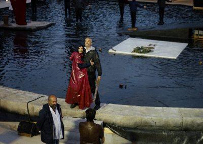 Le prove: il regista Davide Livermore, Laura Marinoni (Elena) e Sax Nicosia (Menelao) - ph. Bianca Burgo