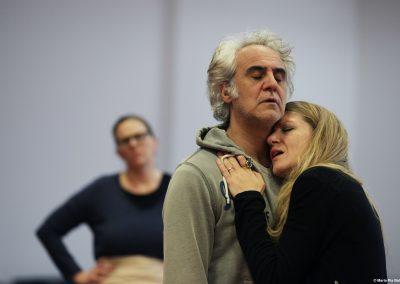 Le prove: Graziano Piazza (Menelao) e Viola Graziosi (Elena) - ph. Maria Pia Ballarino