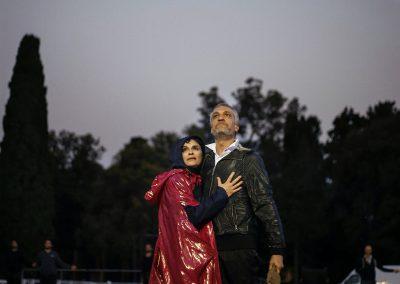Le prove: Laura Marinoni (Elena) e Sax Nicosia (Menelao) - ph. Bianca Burgo