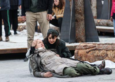 Le prove: Maddalena Crippa (Ecuba) ed Elena Arvigo (Andromaca) - ph. Franca Centaro