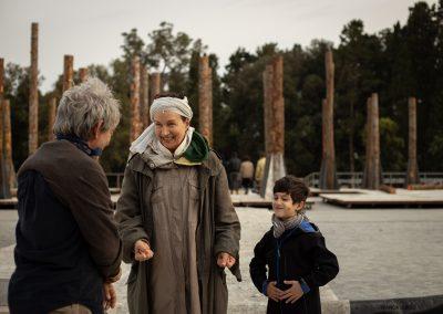 Le prove: Paolo Rossi (Taltibio), Maddalena Crippa (Ecuba) e Riccardo Scalia (Astianatte) - ph. Bianca Burgo