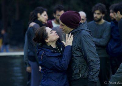 Le prove: Laura Marinoni (Elena) e Sax Nicosia (Menelao) - ph. Franca Centaro