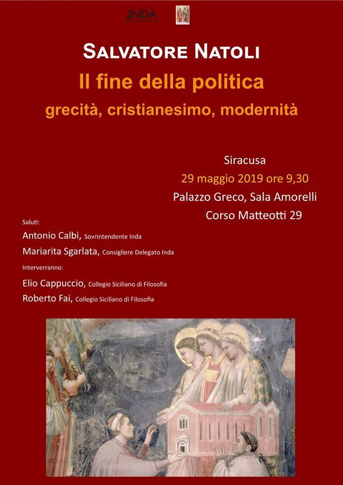 """""""Il fine della politica. Grecità, Cristianesimo, Modernità"""": lectio magistralis del prof. Natoli"""