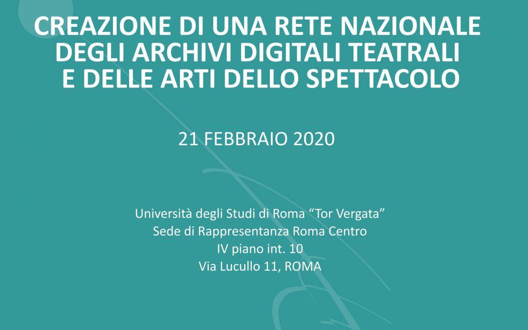 Una rete nazionale degli archivi digitali teatrali e delle arti dello spettacolo: tavola rotonda a Roma