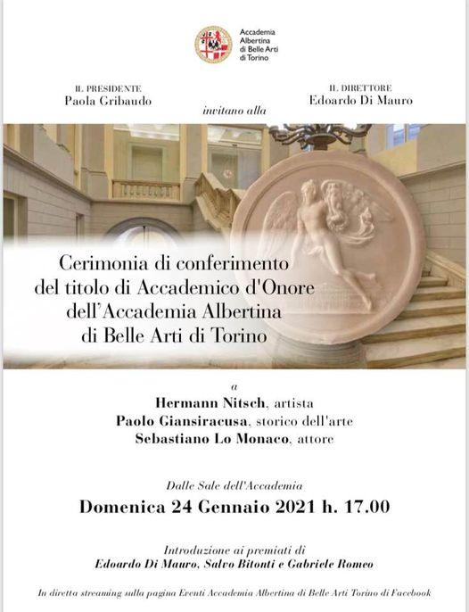 Accademia Albertina di Belle Arti di Torino: riconoscimento a Paolo Giansiracusa